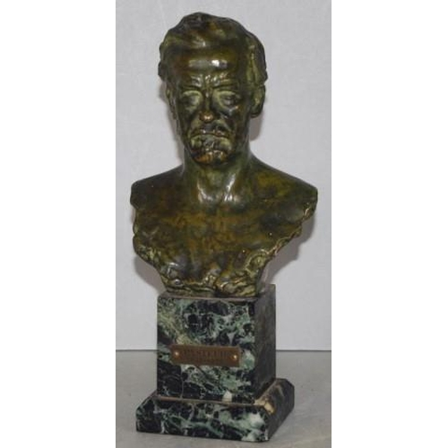 1345 - Antique bronze bust of Louis Pasteur (1822-1895), on green marble base. (Height 25cm approx, total)....