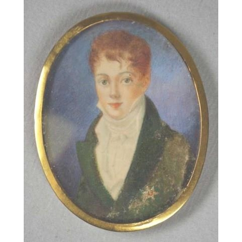 1346 - Georgian portrait miniature in a gold frame painting of a young gentleman, in a high collar. &cm hig...