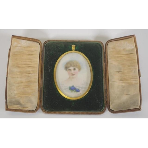 1347 - Antique portrait miniature in oval frame with fitted box, signed 'L Johnstone', 8cm high approx...