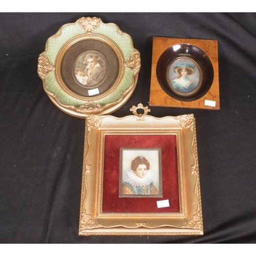 1352 - Three decorative framed portrait miniatures including portraits of Elizabeth 1, a Woman in Blue, and...