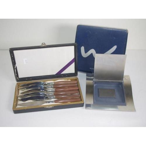 1367 - Royal Copenhagen Wave desk paper box together with a cased set of Jens Quistguard design knives...