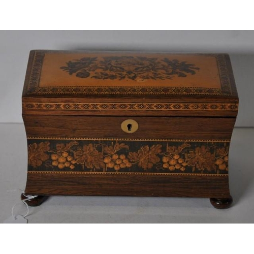 1369 - Tunbridge ware tea caddy 19th century, with floral & fruiting vine inlaid decoration, waisted body &...