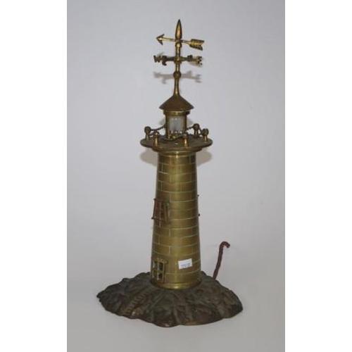 1385 - Vintage cast brass lighthouse lamp 39cm high approx....