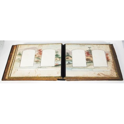 1387a - Antique oriental photo album with mother of pearl & bone decorated cover...
