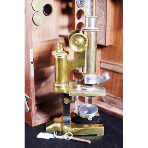 1396 - Vintage wood cased Reichert Vienna microscope brass microscope, maker's mark C. Reichert Vienna, cas...