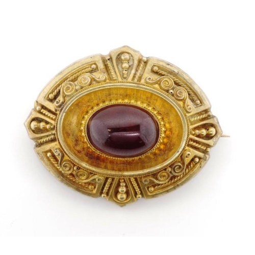 14 - Victorian gold and garnet mourning brooch unmarked approx total weight 11 grams. Test 17-18ct to fro...