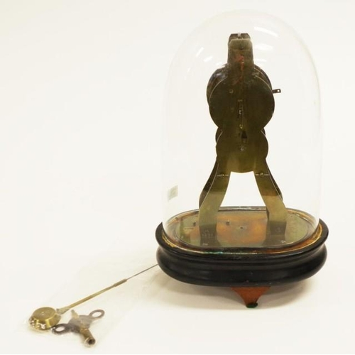 1401 - Brass skeleton clock under a glass dome. Key & pendulum. (as inspected)...