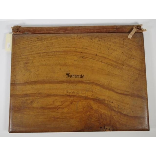 1405 - Victorian Sorrento Italy wood marquetry portfolio decorated with classical scene of figures dancing ...