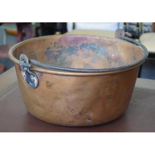 1406a - Antique copper jam pan 45cm wide...