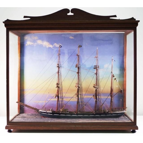 1408 - Fine museum quality C19th marine diorama of the Kenbell in wooden case, width 82cm, height 70cm & de...