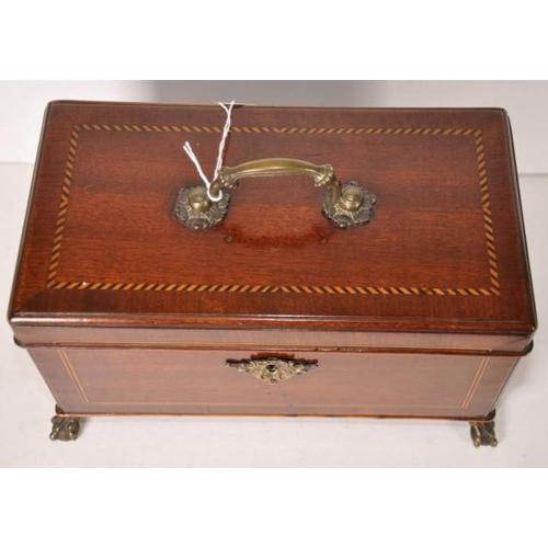 1416 - George III mahogany tea caddy with boxwood & ebony stringing, claw & ball brass feet & a brass top h...