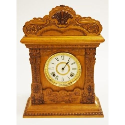 1430 - Vintage Ansonia wood cased mantle clock case with carved wood decoration, movement marked Ansonia Cl...