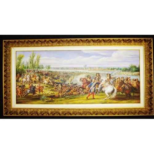 1431a - Good framed reproduction of French art work Louis XIV Crossing the Rhine, oil on canvas board, unsig...