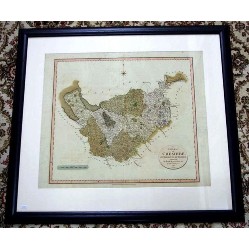 1436a - Georgian pre-industrial antique map of Cheshire by John Carey, 84.5cm x 76cm (frame), dated 1801, pr...