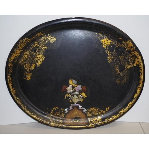 1439 - Victorian black Japanned papier mache tray with mother of pearl inlay, 79cm x 65cm...