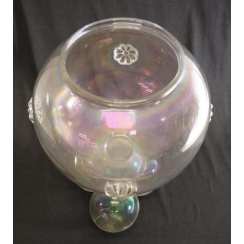 1440 - Unusual Victorian glass fish bowl mounted on a pyramid of glass balls, height 35cm approx...