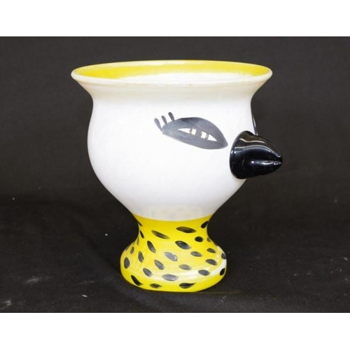 1442 - Good Kosta Boda signed art glass vase bird form, with yellow rim and base, inscribed signature Ulric...
