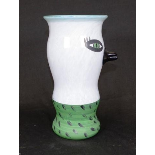 1444 - Good Kosta Boda signed art glass vase bird form, with green rim and base, inscribed signture of Ulri...