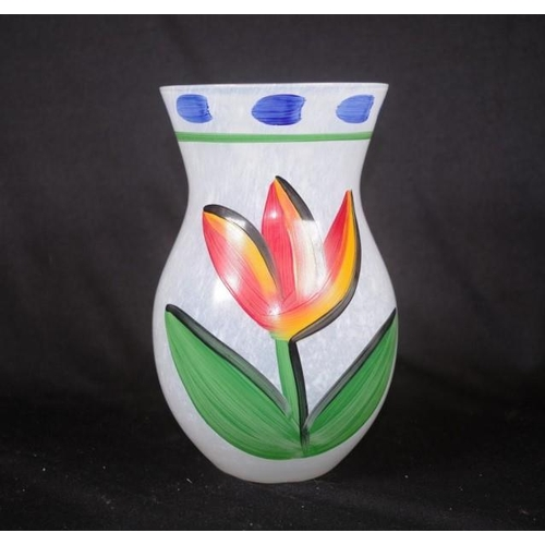 1445 - Kosta Boda hand painted Tulip vase hand signed verso, original label attached, (height 20cm approx)....