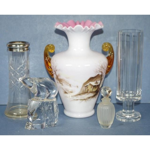 1454 - Antique 2 layer glass vase, a clear glass vase with sterling silver collar, another clear glass vase...