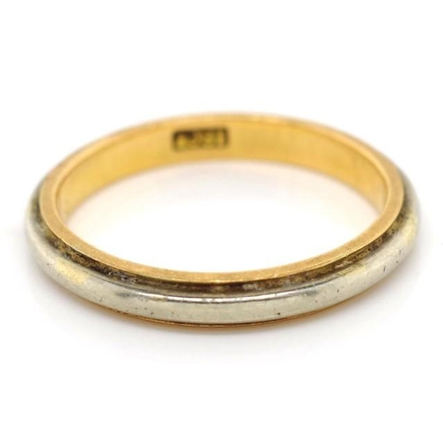 147 - 18ct two gold wedding band marked 18ct approx weight 3.18 grams, ring size L...