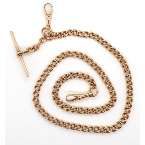 15 - Antique 9ct rose gold fob chain and t-bar marked 9ct and 9c to touch marks. the t-bar marked for W.F...