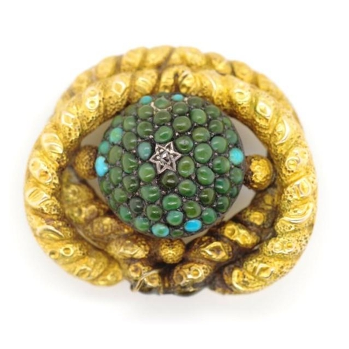 16 - Victorian gold locket brooch unmarked set with turquoise and a rose cut diamond in a Magen David set...