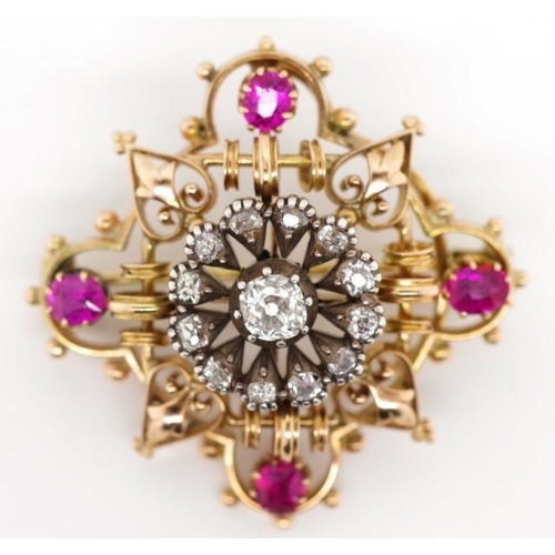 17 - Gold, diamond and pink sapphire brooch with open scroll, heart and bead work decoration. Unmarked. A...