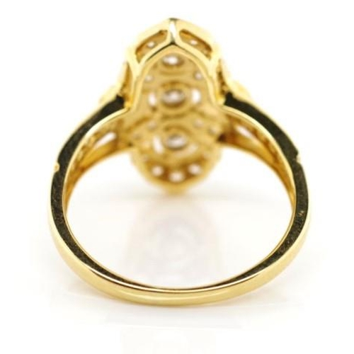 176 - Art Deco style 18ct gold and 0.58ct diamond ring approx round brilliant cut diamond weights 3x total...