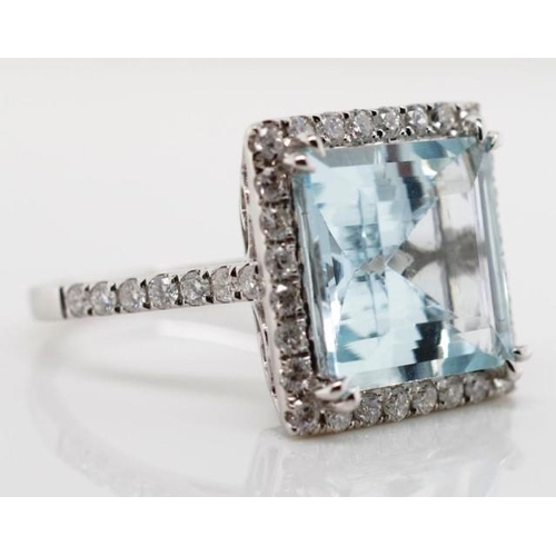 177 - Aquamarine, diamond and 18ct white gold ring marked 750 approx aquamarine  5.72ct, 42x round brillia...
