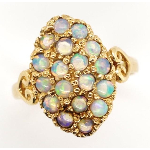 178 - Opal and 9ct yellow gold ring marked 9ct approx 2.9 grams weight, ring size J-K...