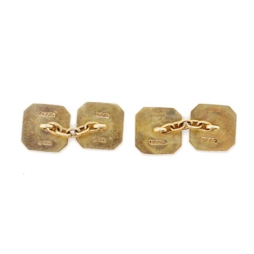 18 - 9ct rose gold cufflinks with canted square shields and chain links. Decorated with art deco sun burs...