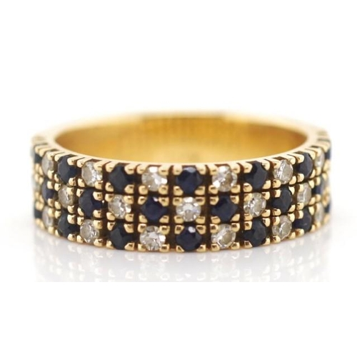 180 - 14ct yellow gold, sapphire and diamond ring marked 14ky approx 6 grams weight, ring size N...
