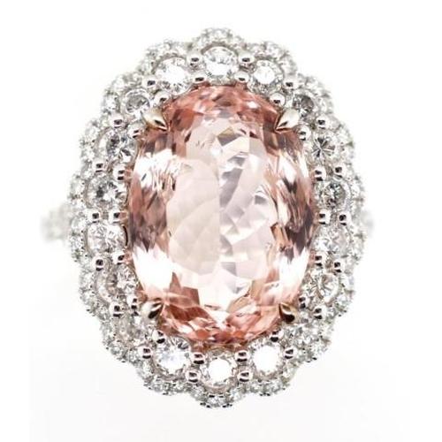 181 - 6.17ct Morganite diamond and 18ct gold halo ring. Edwardian style double diamond halo and diamond sp...