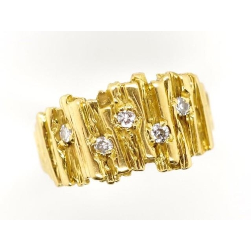 19 - 18ct yellow gold and diamond ring marked 18ct modernist style with set with approx 5x round brillian...