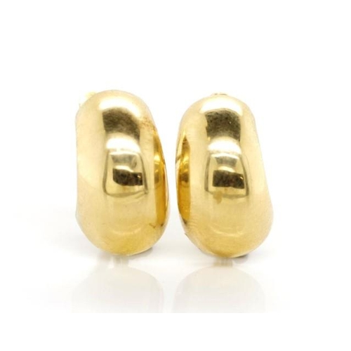 194 - Gold half hoop earrings with lever backs for pierced ears. Unmarked tests as 10ct...
