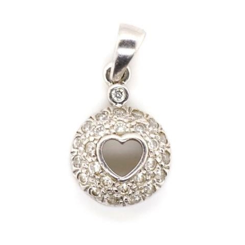 196 - 18ct white gold grain set diamond pendant total weight approx 2.3 grams...