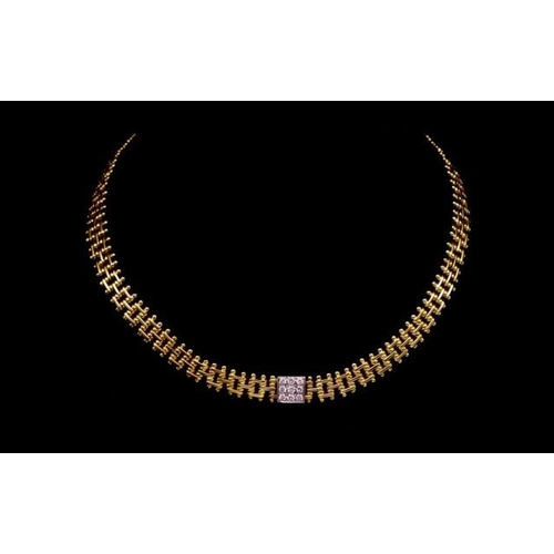 2 - 18ct yellow gold and diamond necklace multi link necklace with white a gold central panel set with n...