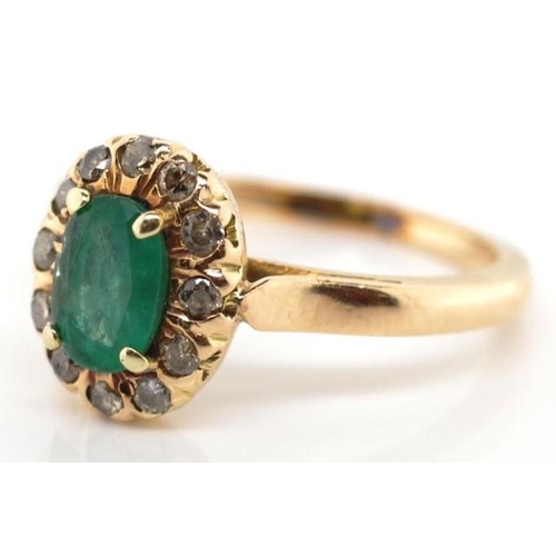 20 - 9ct rose gold, emerald and diamond ring unmarked approx 6.2mm x 4.2mm oval cut emerald and a 12x dia...