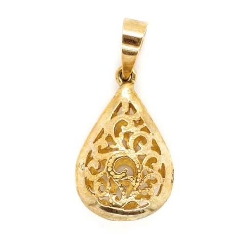 201 - 9ct yellow gold pendant open scroll work drop form pendant marked 375 on the bail. Approx weight 3 g...
