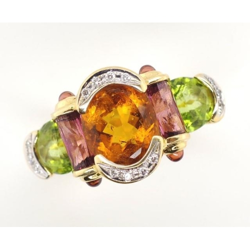 21 - 18ct yellow gold multi gem ring includes tourmaline, citrine, peridot and diamonds marked 18k 750. A...