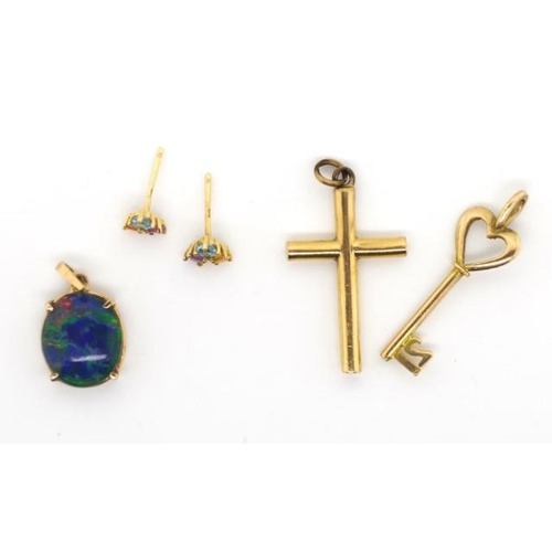 211 - Gold jewellery group includes multi-gem stud earrings, 9ct key charm, a cross and opal doublet penda...