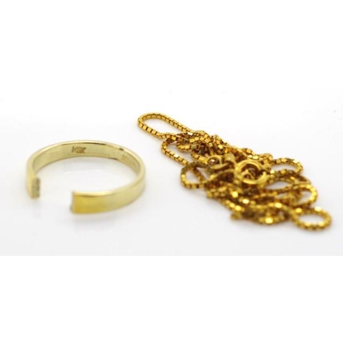 215 - Gold jewellery for scrap damaged ring marked 585 14k approx weight 2 grams, damaged chained marked 3...