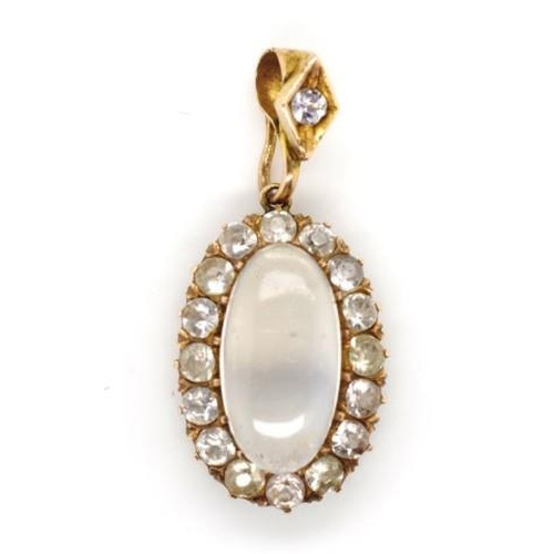 219 - Antique gold and moonstone pendant also set with white sapphires. Unmarked, approx total weight 4.7 ...