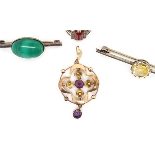 220 - Early 20th C. 9ct yellow gold pendant together with three silver jewellery pieces. Gold pendant mark...