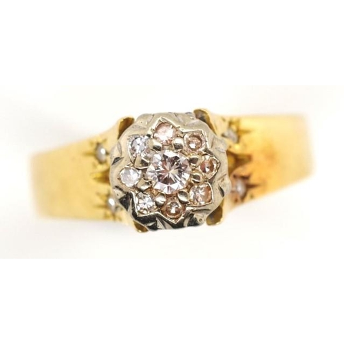 23 - 18ct gold, platinum and diamond cluster ring marked 18ct plat approx weight 3.64 grams, ring size K...