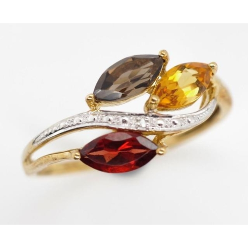 230 - Mutli gemstone 9ct gold ring set with, smoky quartz, citrine, garnet and diamonds. marked 375 approx...