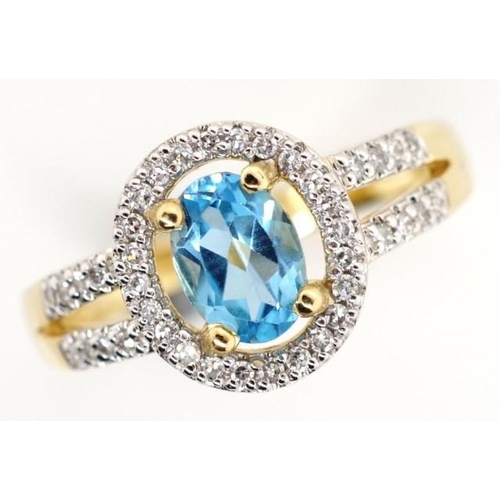 233 - 14ct yellow gold topaz and diamond halo ring marked 14k approx 0.20ct total diamond weight, total ri...