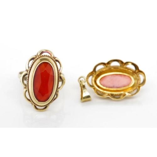 234 - 14ct yellow gold and carnelian ring and pendant marked 585 leaf (Netherlands) Approx ring size  P, 3...