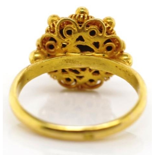 235 - 14ct yellow gold cannetille ring marked 585 Oak leaf approx weight 3.1 grams weight, ring size G...